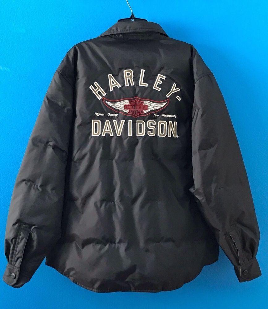 Harley Davidson Motorcycle Down Filled Reversible Jacket Men S Size M Pristine Harleydavi Reversible Jacket Men Reversible Jackets Harley Davidson Motorcycle