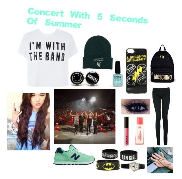 Concert With 5 Seconds Of Summer by cillehauge on Polyvore featuring Monkee Genes, New Balance, Moschino, Geneva, LORAC, Limedrop, Brinley Co and 5 Seconds Of Summer