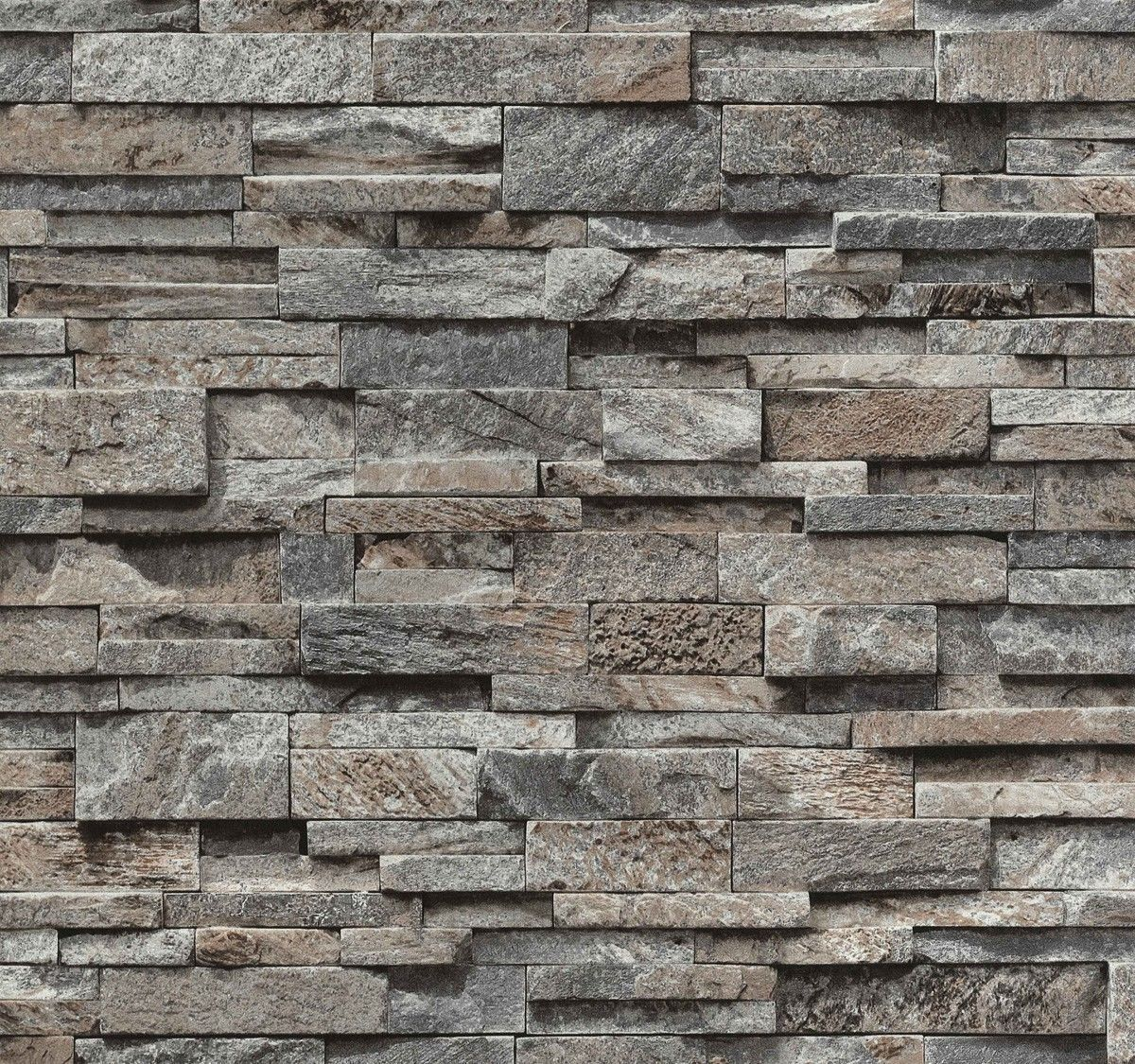 Wallpaper Non Woven Stone Stones Wall Brick Grey Brown Ps 02363 20 1 91 1qm Steenbehang Houten Behang 3d Behang