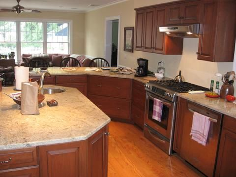 Like The Curved Counter And Octagonal Island   Kitchens Delectable Kitchen Wood Countertops 2018