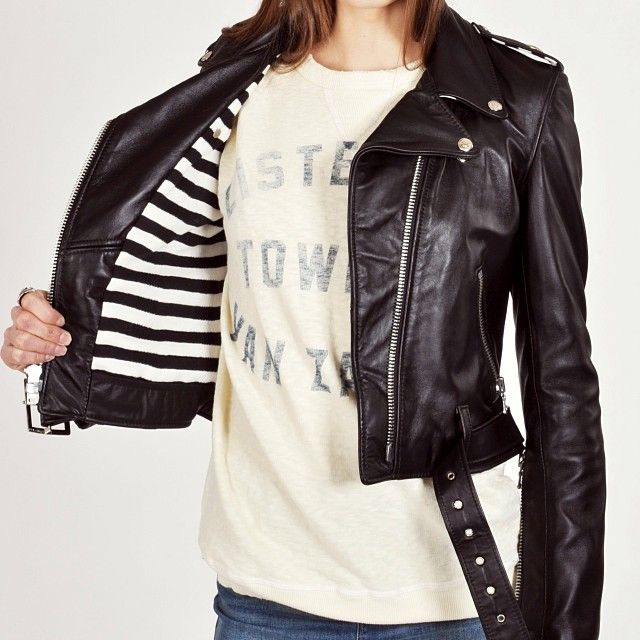Hidden stripes. Edith Miller Schott NYC leather jacket collab