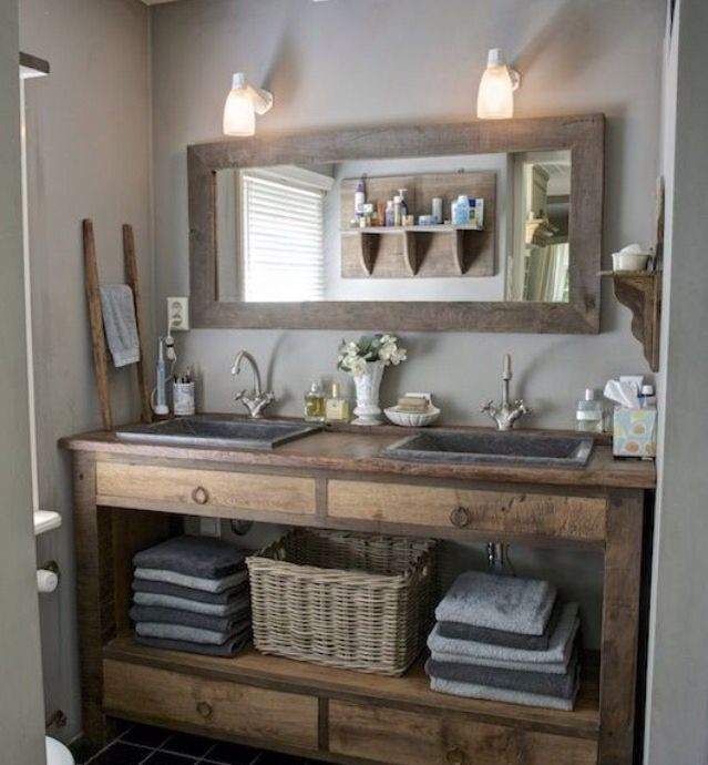 Basket Towels On Farmhouse Vanity
