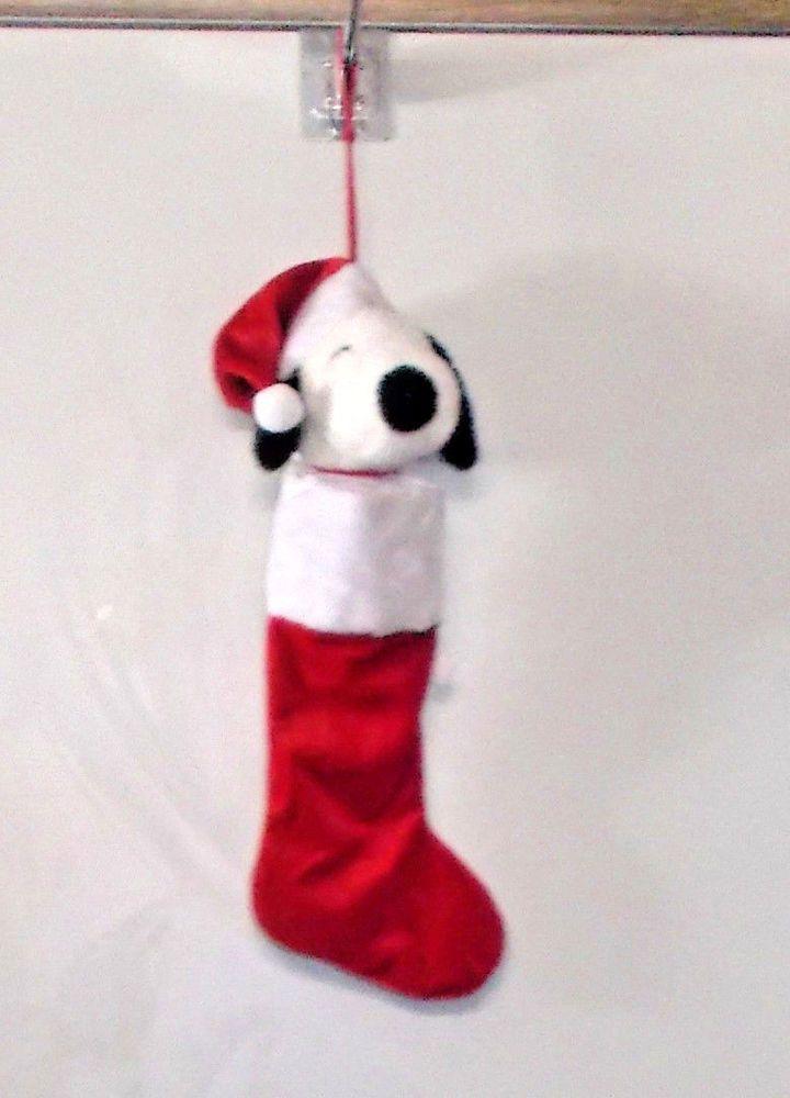 snoopy christmas stocking red santa hat soft plush stuffed head white holidays - Snoopy Christmas Stocking