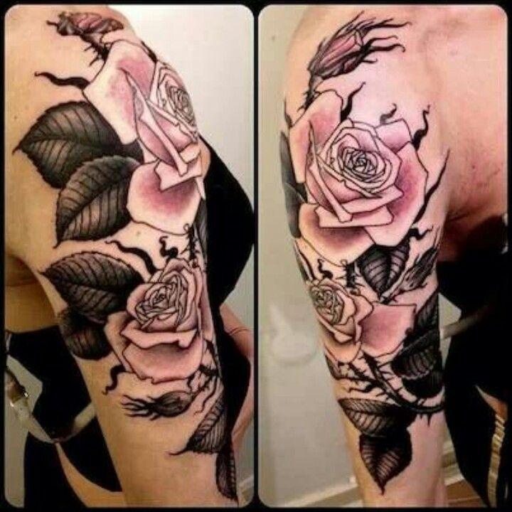 Simple Floral Black And Grey Half Sleeve Tattoo
