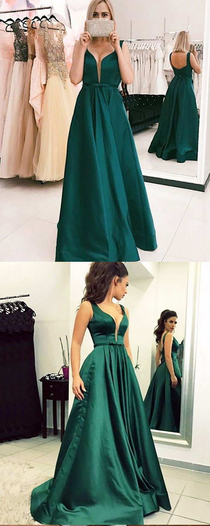 Simple pleated vneck green satin ball gown prom dress pm in