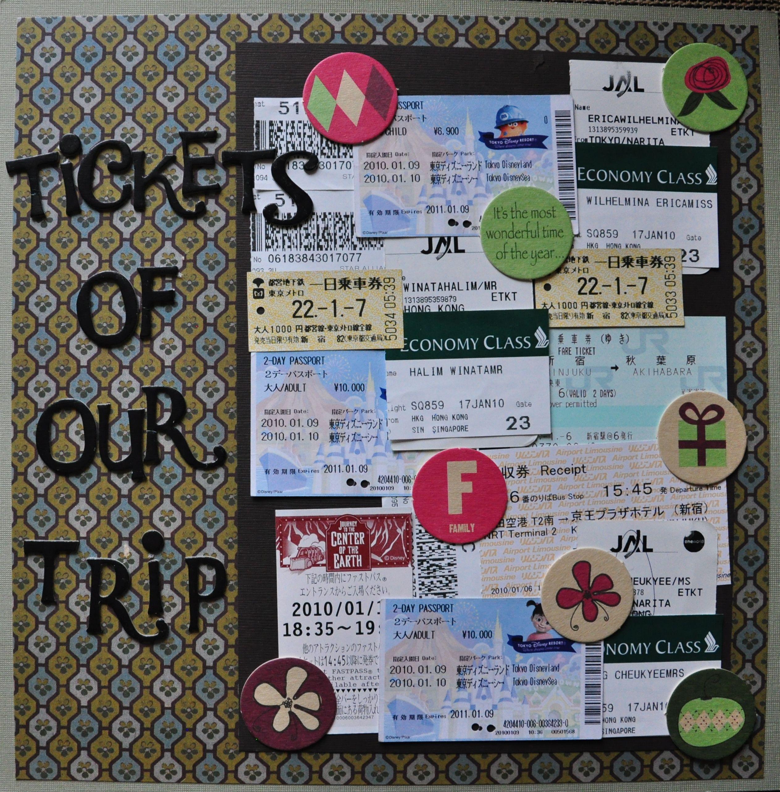 Scrapbook ideas singapore - Tokyo Tickets Scrapbook Com