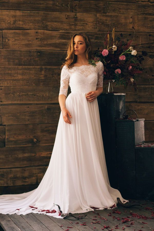 modest summer wedding dress with lace 3 4 sleeves and boat neck   myweddingdotcom 483fe6b5e787