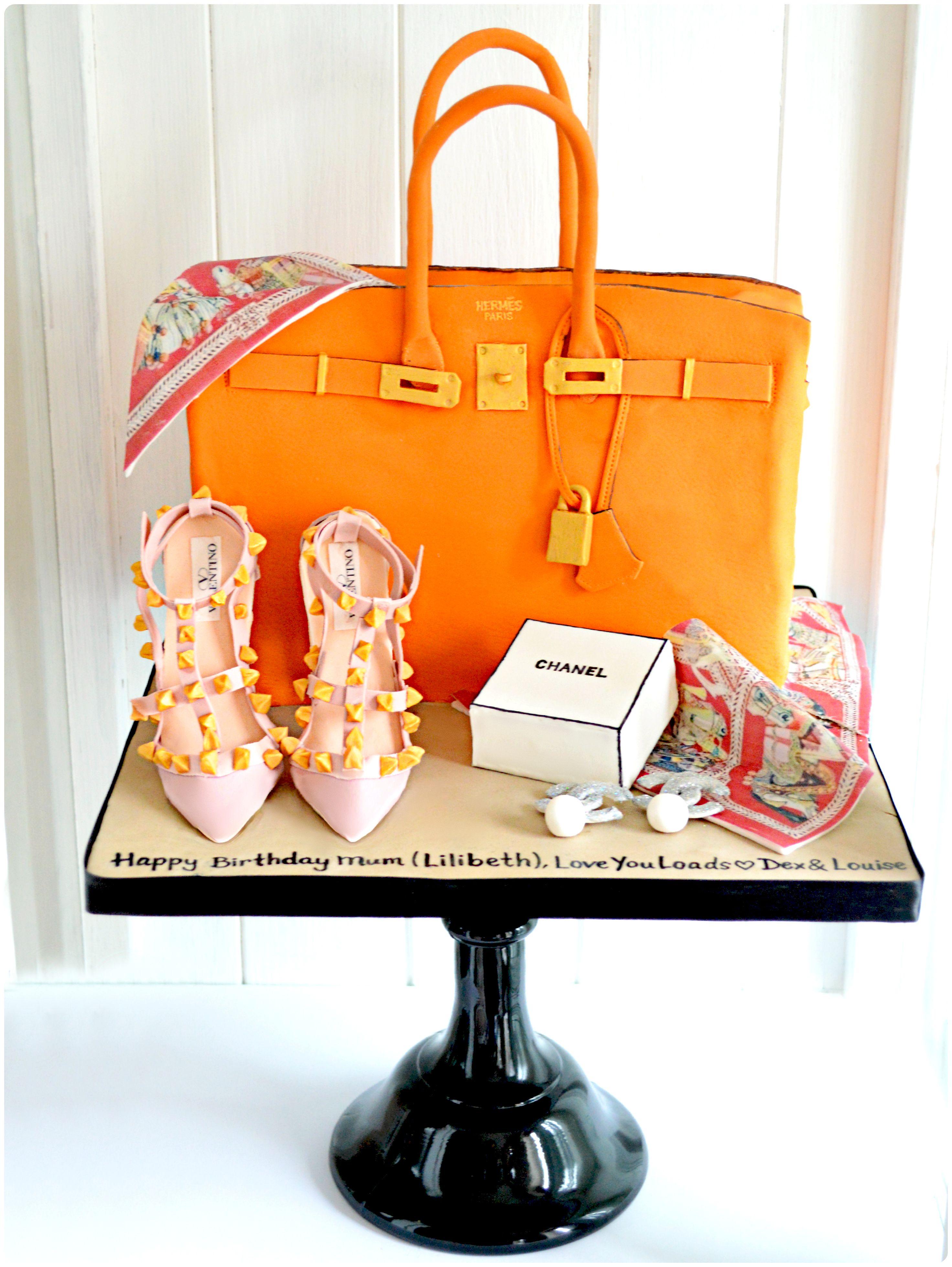 39776f731bf8 Orange Hermes Birkin Handbag Birthday Cake with Scarf and Fondant Sugar  Valentino Rockstud Pumps High Heel Shoes Chanel Pearl Earrings Jewelery Box  Cherie ...