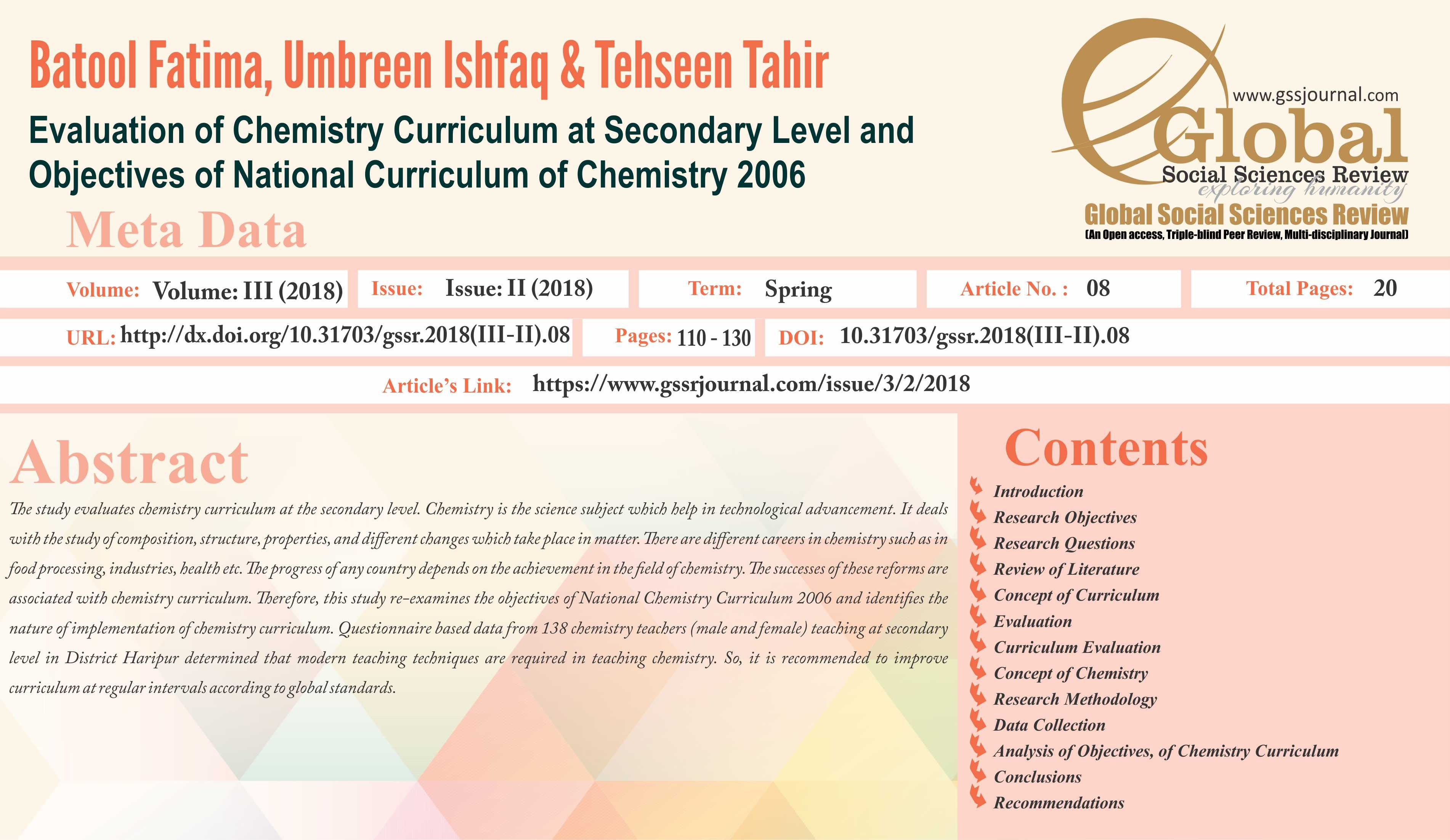 Evaluation of Chemistry Curriculum at Secondary Level and