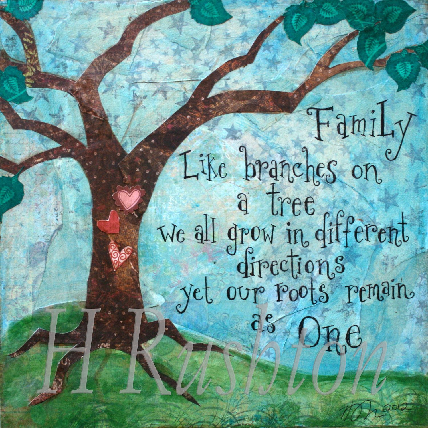 Tree Root Wall Decor : Family tree art wall quote mixed media