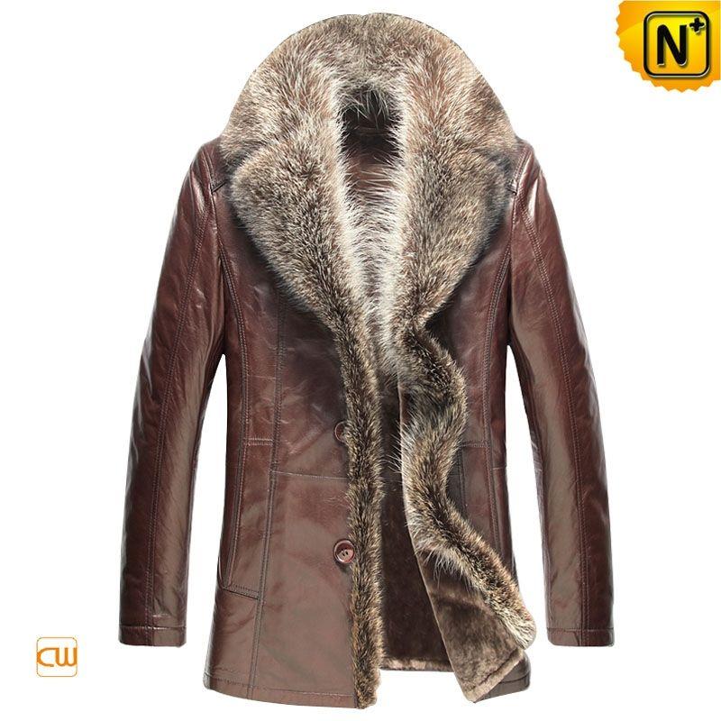 Supreme warm shearling sheepskin coats for men with fluffy raccoon ...