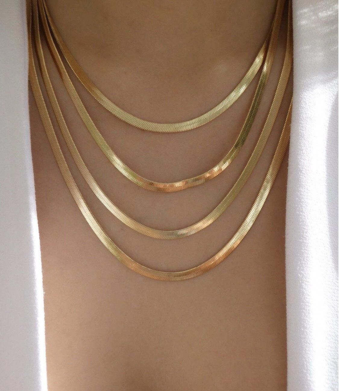 Flat Multi Row Snake Chain Necklace In 2020 Gold Necklace Flat Gold Necklace Gold Chain Necklace