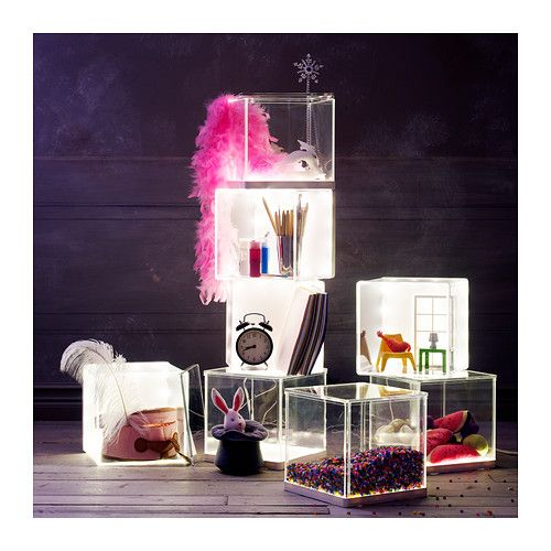 IKEA - SYNAS, LED lighting box, , Your child can showcase their art creations, collections or favourite belongings and change when they like thanks to the ...