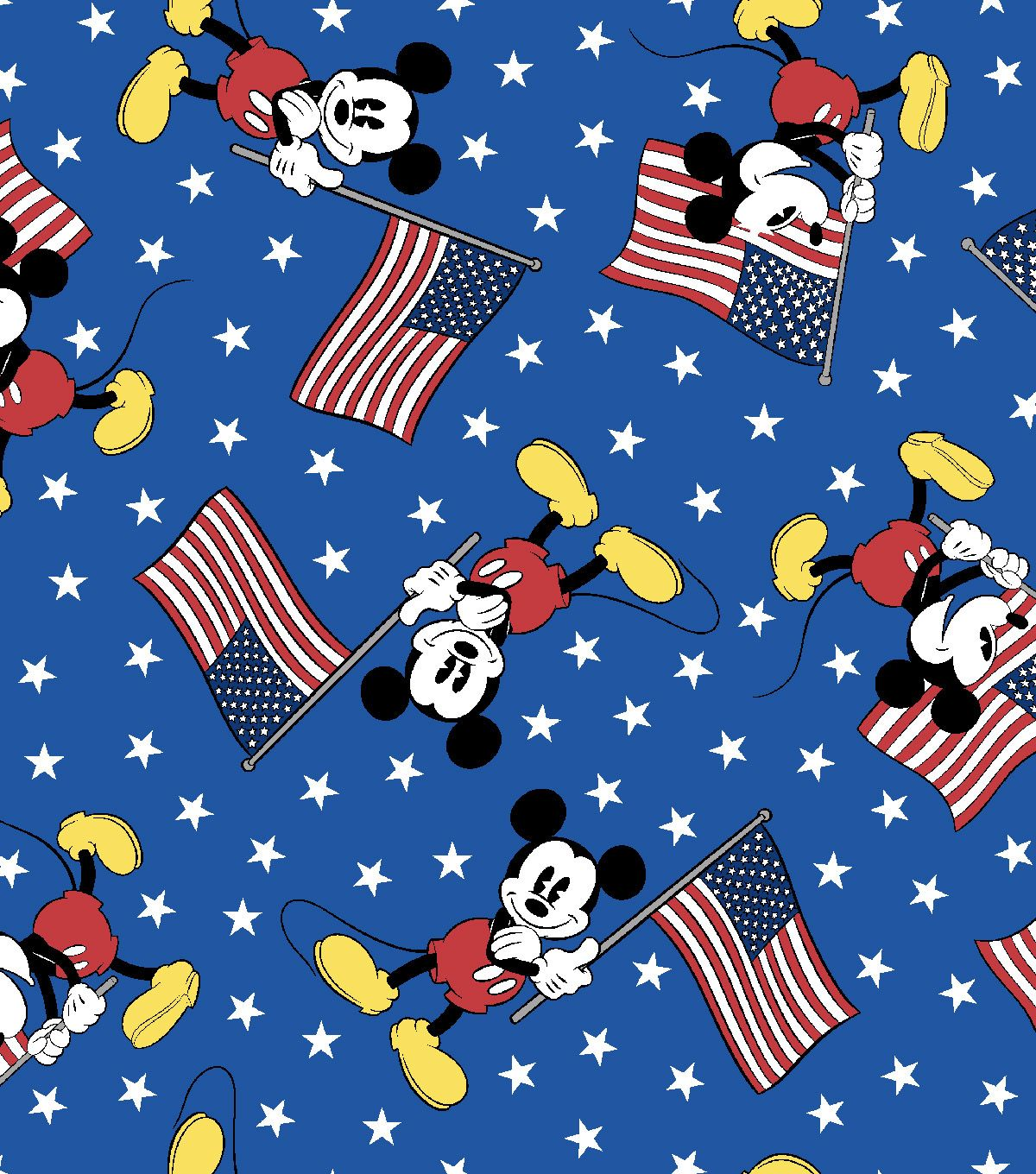Patriotic Cotton Fabric 43 Mickey Team With Usa Flag Sewing