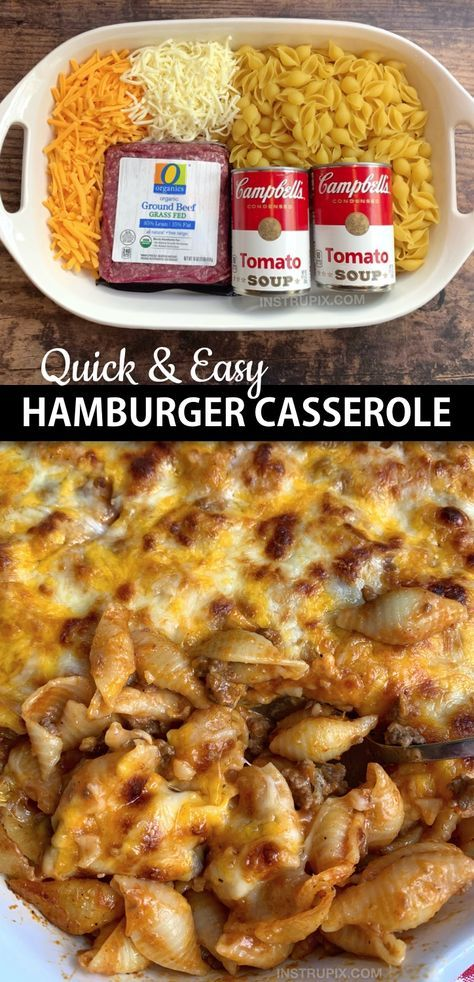 Looking for quick and easy dinner recipes for the family? This simple hamburger casserole is made with just 4 ingredients: ground beef, tomato soup, pasta shells and cheese! It's perfect for busy weeknights, picky eaters and large families. I'm always looking for easy casserole recipes for dinner, and this fast meal is very family pleasing! Kids and husbands love it. #instrupix #casseroles #dinnerrecipes