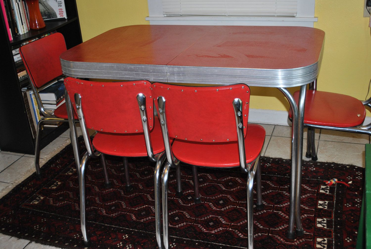 red kitchen table set pendant lighting for island vintage 1950s formica and chrome dinette with 4