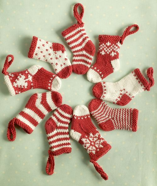 French Knitting Christmas Tree Ornaments Stockings Free Pattern