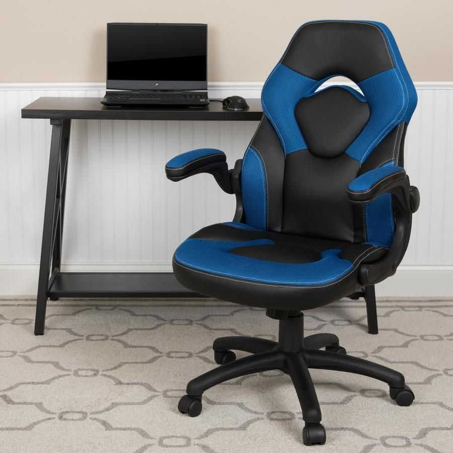 Flash Furniture X10 Gaming Chair Racing Office Ergonomic Computer Pc Adjustable Swivel Chair With Flip Up Arms Blue Bla In 2020 With Images Gaming Chair Flash Furniture Chair