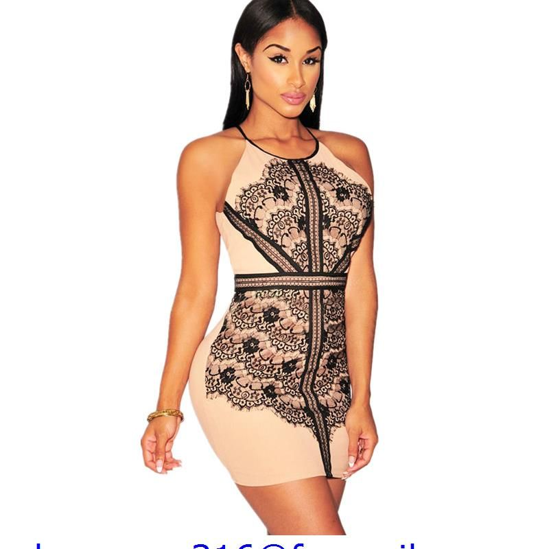 ADEWEL Women Sexy Black Lace Nude Illusion Club Mini Dress