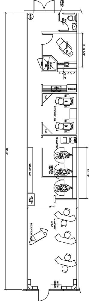 Beauty salon floor plan design layout 1120 square foot for Beauty salon layout