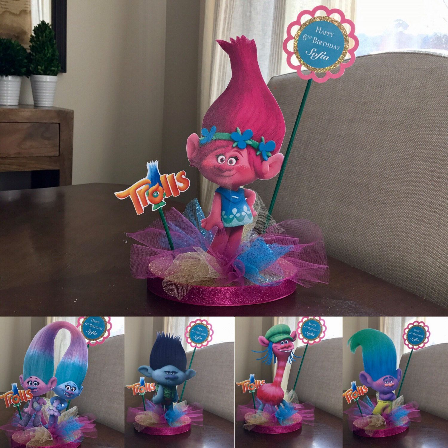 Trolls centerpiece or cake topper poppy branch and by