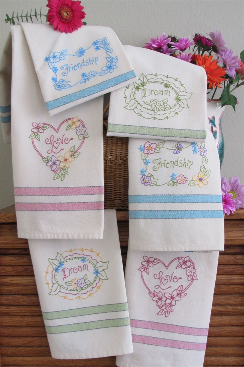 Bird Brain Designs Love Dream Friendship 685 Tea Towels Hand Embroidery  Patterns   Three Designs To Embroider On A Set Of Towels Nice Ideas