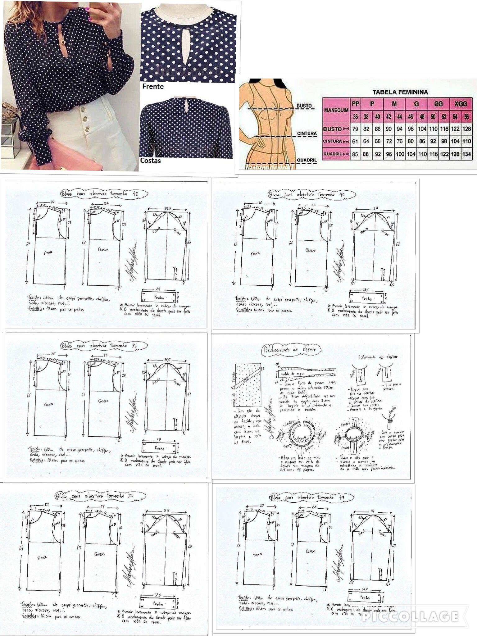 Blouse | Blusas | Pinterest | Blusas, Molde y Costura