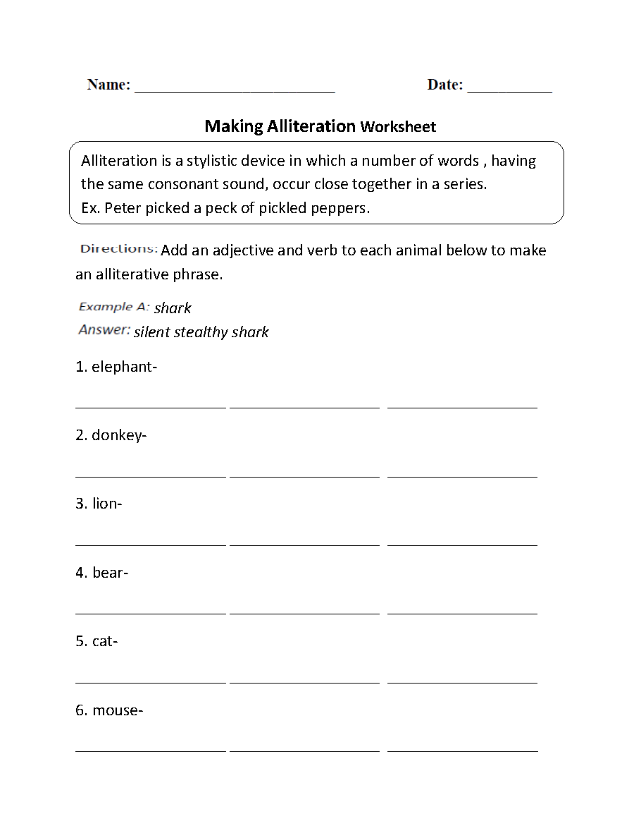 Making Alliteration Worksheet | Third Grade Activities | Pinterest