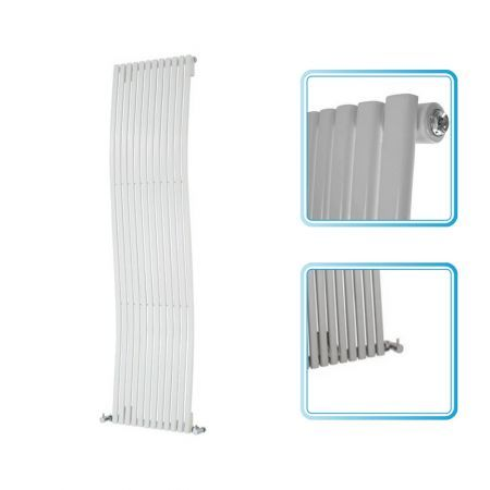 The 1600mm x 460mm white designer radiator features a striking wave design, which will create a stylish focal point in your bathroom, kitchen or living room. The white designer radiator has 12 flat bars which produce a BTU output of 3,819 (1,120 watts).