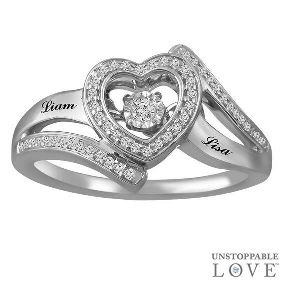 Zales 1/8 CT. T.w. Enhanced Black and White Diamond Heart Sides Promise Ring in Sterling Silver and 10K Rose Gold a51BYFVgn