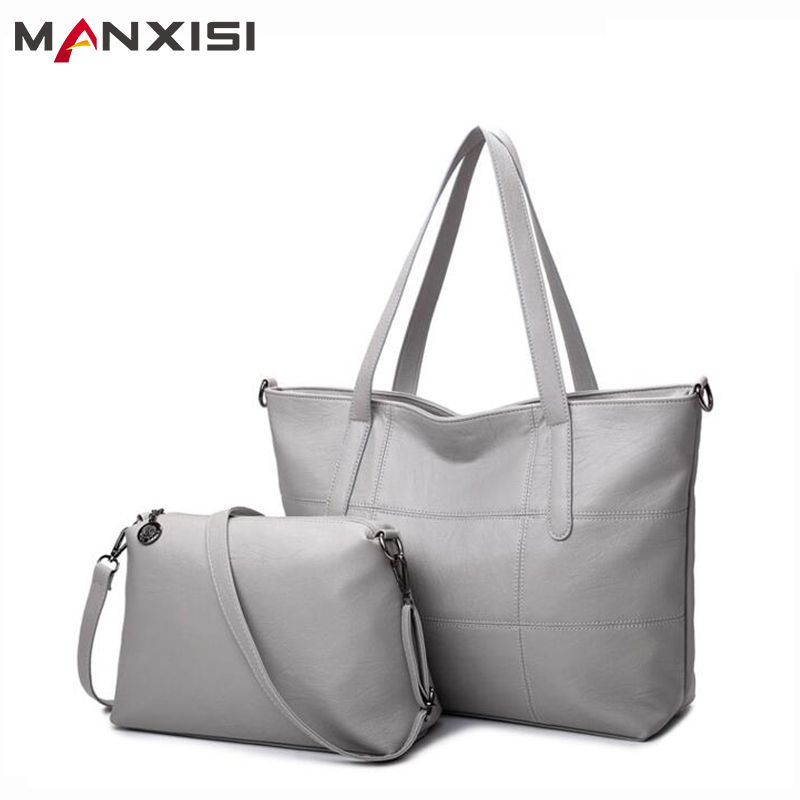 Price Tracker And History Of Manxisi Brand Luxury Handbags Women Bag Leather Bags Casual Tote Gray Shoulder Solid Soft Zipper Composite Set