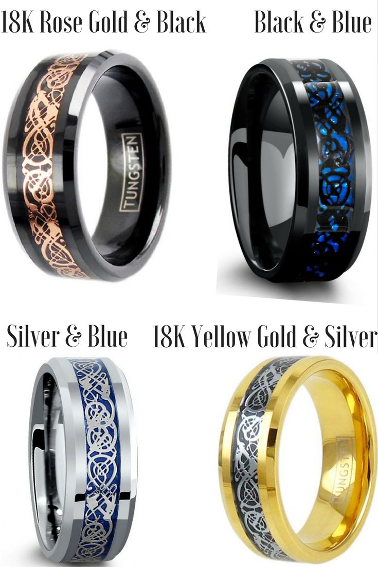 Mens celtic wedding bands crafted out of tungsten carbide and inlaid