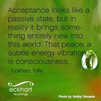 Acceptance looks like a passive state but in reality it brings something entirely new into the world. That peace...a subtle energy vibration is consciousness. Eckhart Tolle
