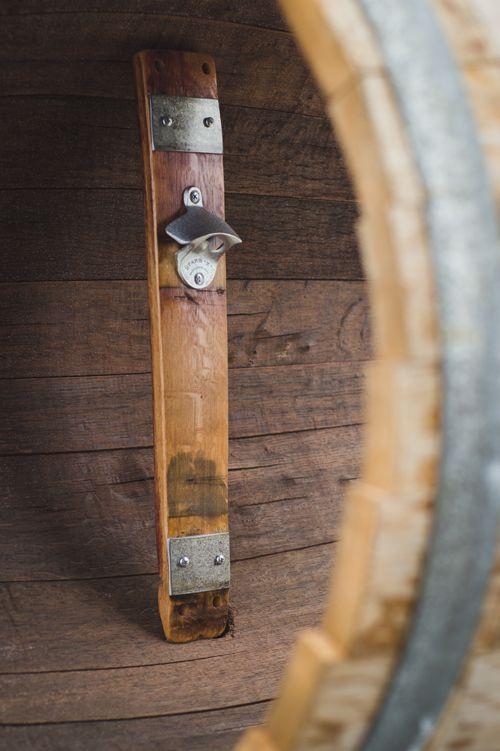 Banded Barrel Stave Bottle Opener Wall Mounted Natural
