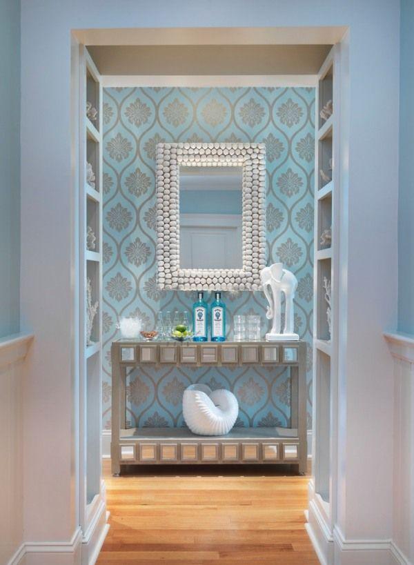 Flurgestaltung mit Farbe-hellblaue Tapeten-floral abstrakt - tapeten und farben