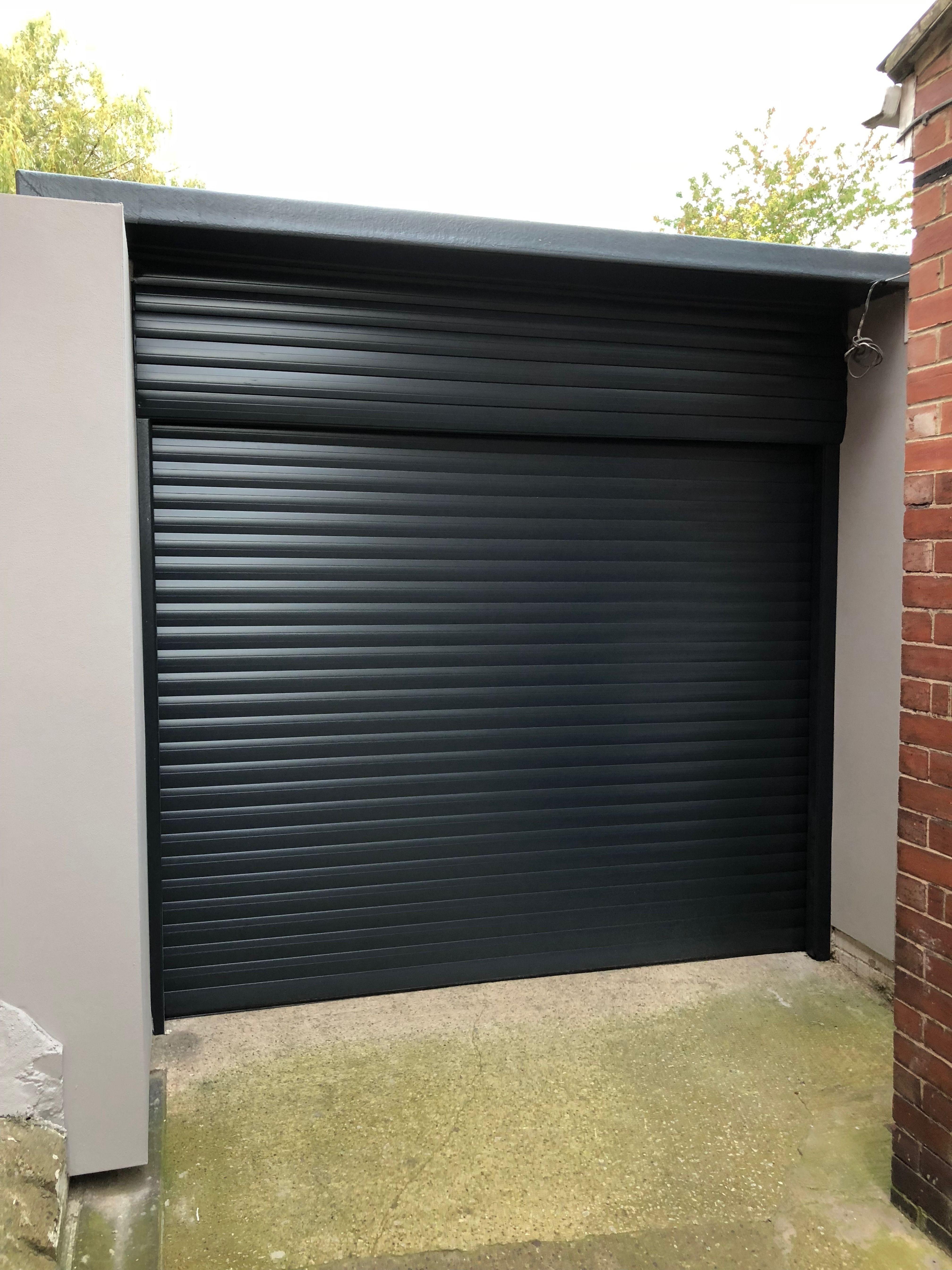 Stunning Roller Door In Black Garage Doors Garage Door Types Black Garage Doors
