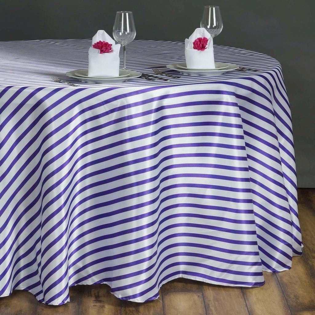 "90"" White/Purple Satin Stripe Round Tablecloth - Clearance ..."