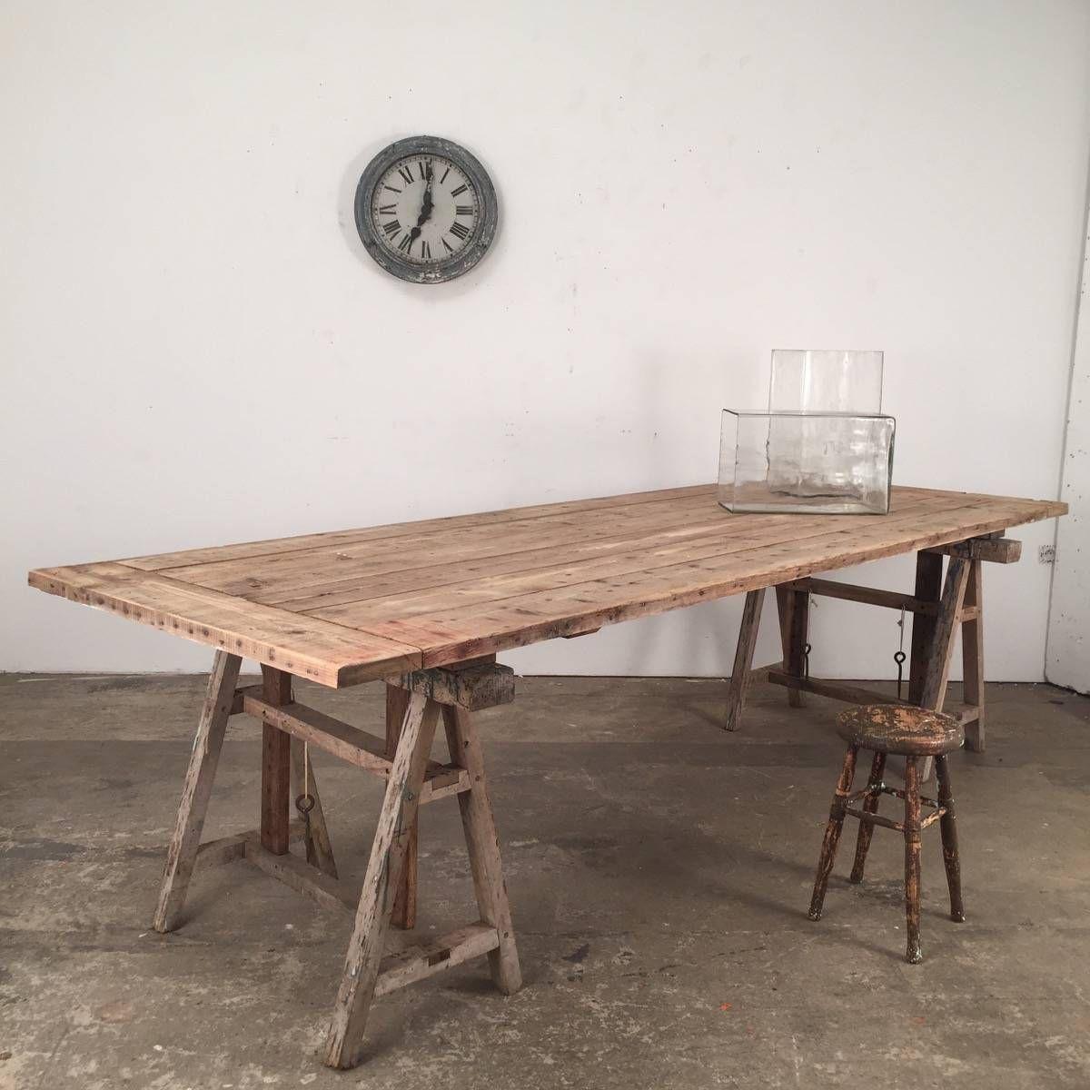 Jolie Table A Treteaux Ajustable En Sapin Delave Table Treteau Table A Manger Treteaux Table Plancha