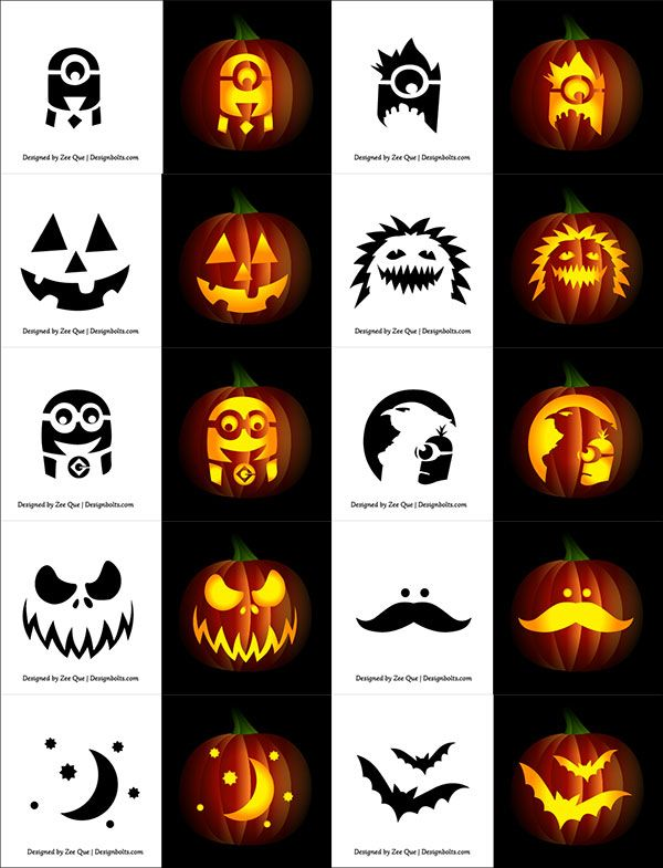 Free simple pumpkin carving stencils for children