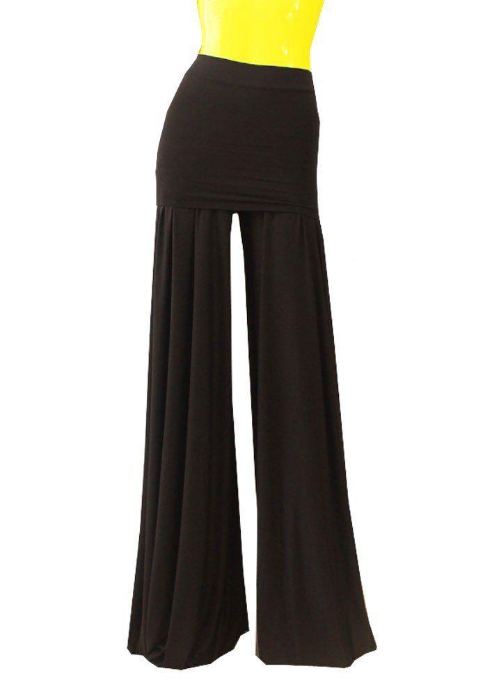 Amazon.com: E K Women's wide leg pants Cotton jersey jumpsuit High & low waist yoga trausers: Clothing