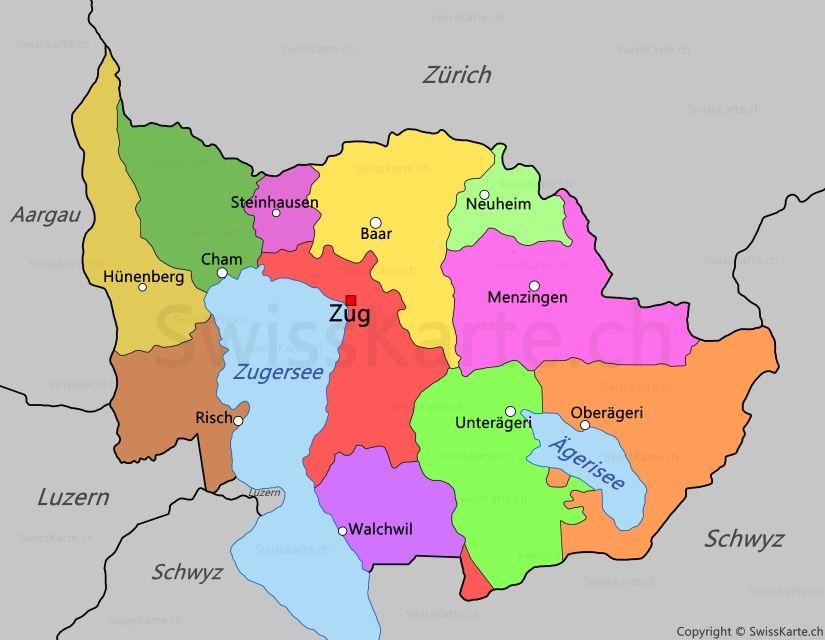 Karte Kanton Zug Mit Bildern Kanton Zug Zug Luzern