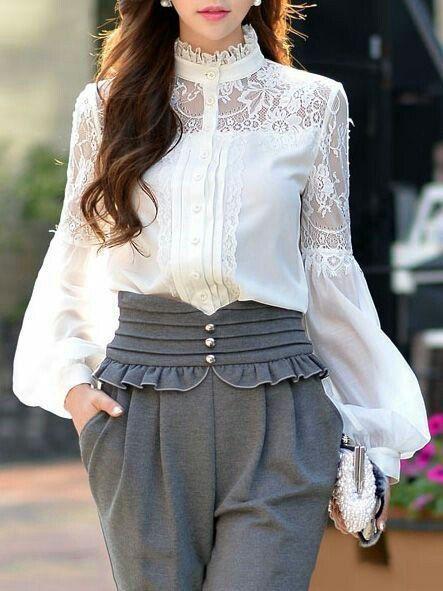 Блузки с кружевом фото | Наряды, Кружевные блузки, Одежда