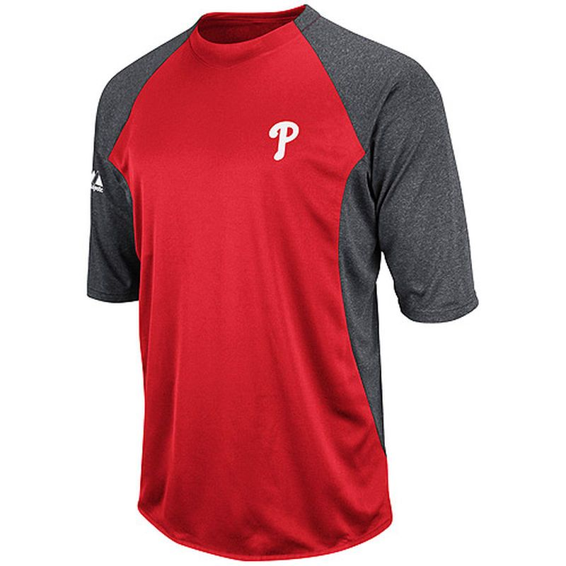 Philadelphia Phillies Majestic Youth Featherweight Therma Base T-Shirt - Red