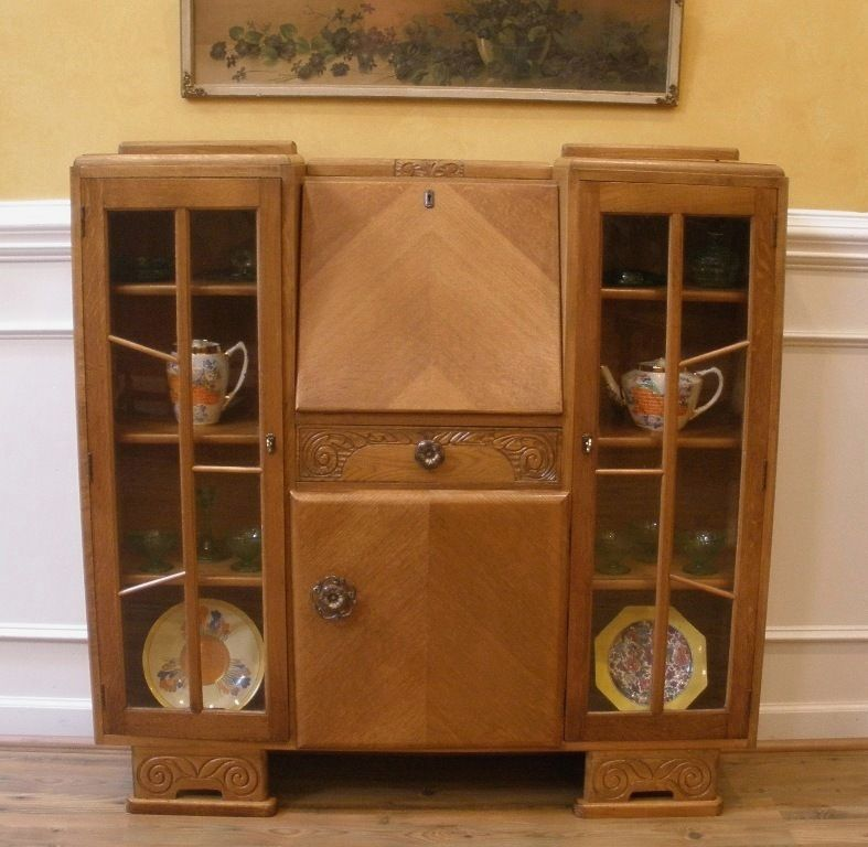 A Walnut Art Deco Bureau Et Display Cabinet Antiques
