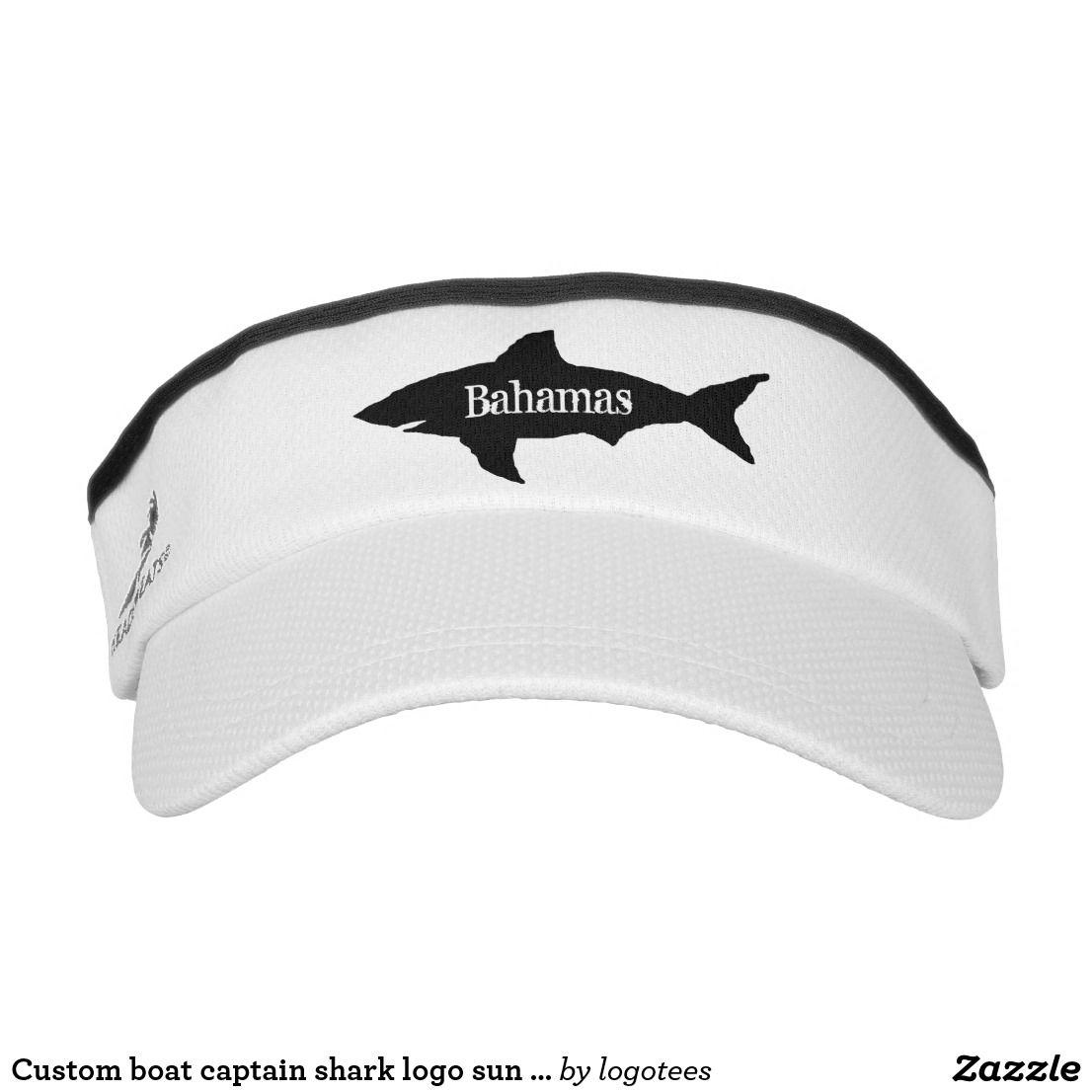 Custom boat captain shark logo sun visor cap hat | Zazzle com