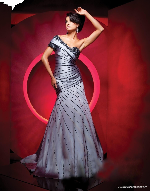 Sequined satin aline offtheshoulder neck cap sleeve prom dress
