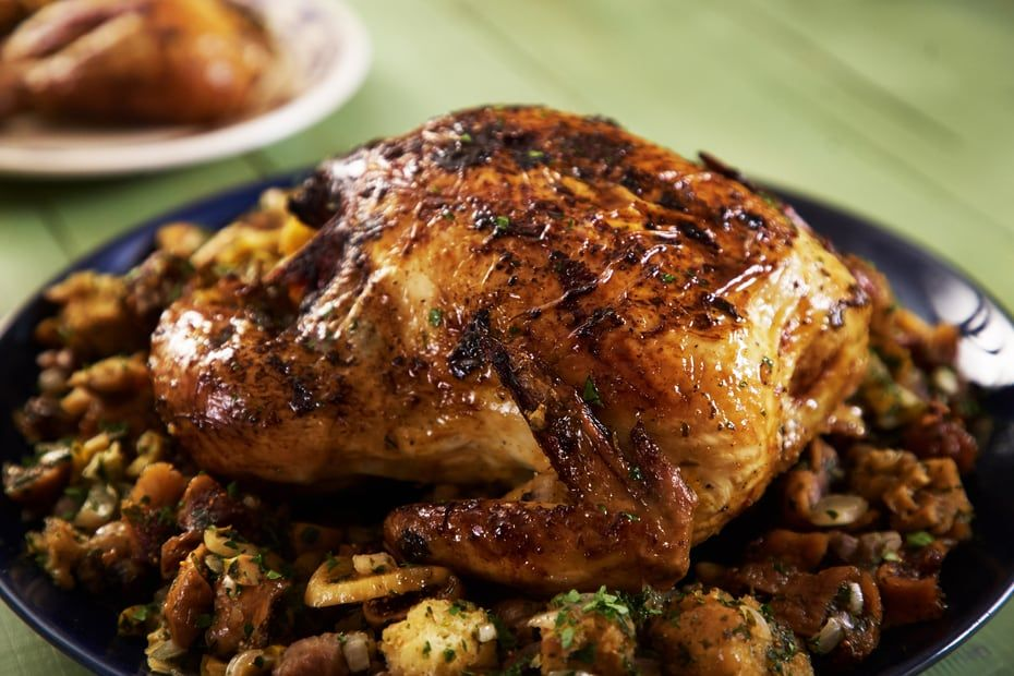 Roasted Chicken Stuffed With Figs And Olives Recipe Roasted Chicken Chicken Greek Recipes