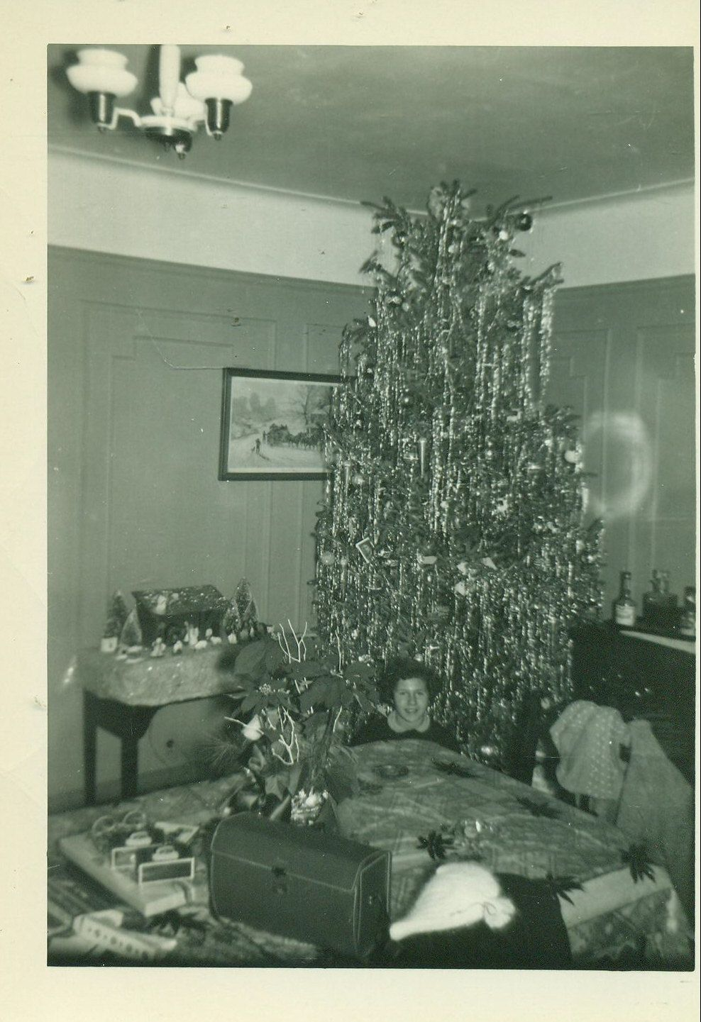 Vintage christmas decorations 1950s - 1950s Christmas Tree Living Room Decorations Liquor Cabinet In Corner Snapshot Vintage Black White Photo Photograph