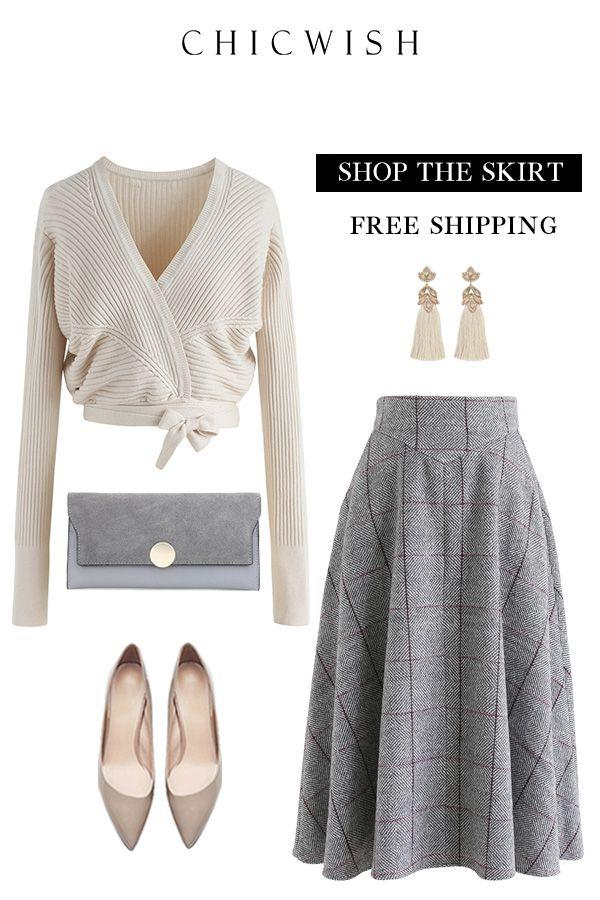 Grid A-Line Skirt #fullskirtoutfit