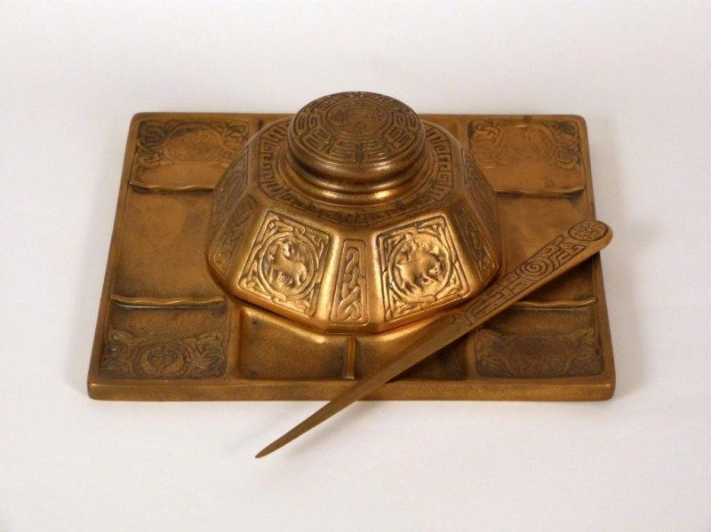 #Tiffany Studios Bronze Zodiac Desk Set to be sold at Hutter #Auctions on July 18, 2013